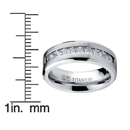 4c85ae65fa384 Metal Masters Co. Titanium Men's Wedding Band Engagement Ring with 9 large  Princess Cut Cubic Zirconia Size 9