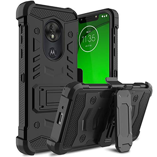 Yantan Moto G7 Power Case with Kickstand and Belt Clip, Heavy Duty Full Body Shockproof and Protective Case for Motorola G7 Power and Motorola G7 Supra (Black)