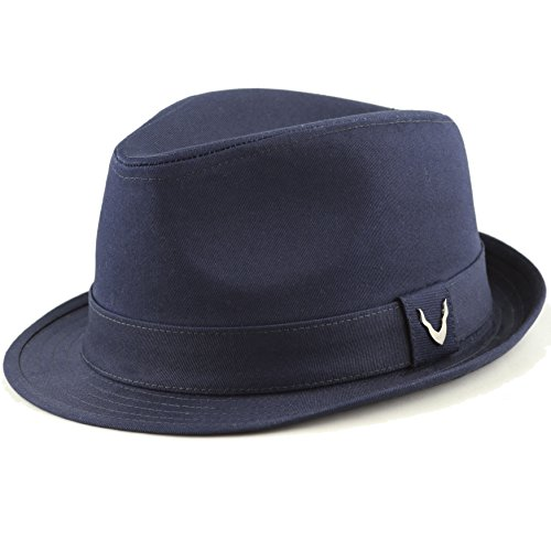 THE HAT DEPOT Black Horn Unisex Cotton Wool Blend Herringbone Trilby Fedora Hats (X-Large, Cotton- Navy)