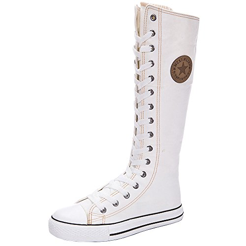 Yirenhuang Shoes Lace Knee Dancing Canvas Boots Boots Sports up High Zip White Girl's Women's Flat Fashion REPqwURr