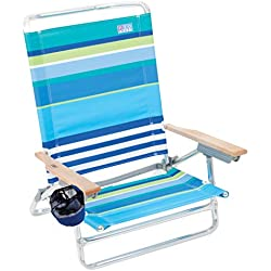 Rio Beach Classic 5 Position Lay Flat Folding Beach Chair - Cool Blue Stripes