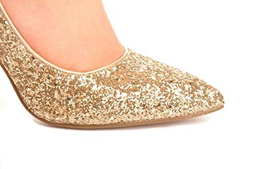 Oro Brocado Zapatos Puntiagudo Brillantes Tacones de Novia Zapatos de la Boda Sandalias