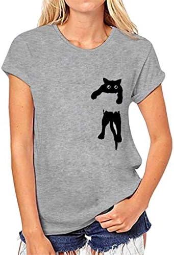 [해외]Women T-ShirtJKioleg Women Cute Cat Print T-Shirt Loose Short Sleeve Blouse Casual Simple Pullover Tops / Women T-ShirtJKioleg Women Cute Cat Print T-Shirt Loose Short Sleeve Blouse Casual Simple Pullover Tops