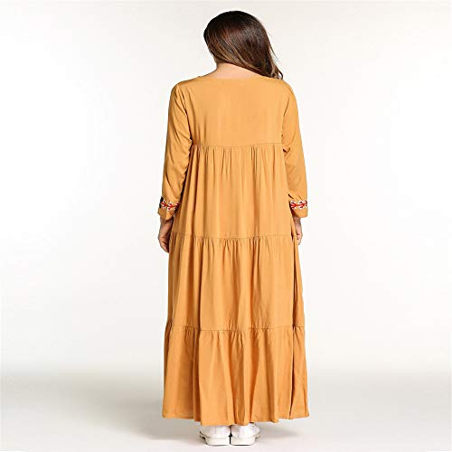 E Con Ricamato dimensione Yhjklm Etnico Europeo Xxl Confortevole Femminile Medio Stile Quadrato Musulmano Collo Abito Americano Elegante wIXXqAozH