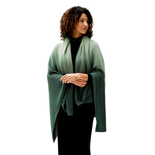 (Kevia | Soft Green Ombre Fashion Scarf | Cozy Large Shawl Cover-Up Throw | Thick & Warm Gradient Blanket Wrap)