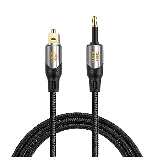 CableCreation 3 Feet Toslink Male to Mini Toslink Male Digital S/PDIF Audio Optical Fiber Cable 24K Gold Plated for Chromecast Audio,iMac,Mac Pro&More,Black & Silver/1M