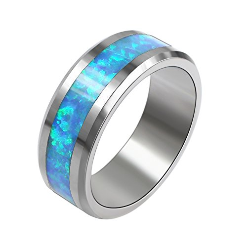 Sinlifu 6mm Synthetic Opal Tungsten Wedding Band Ring with Blue and Slight Green Fire Inlays - Inlay Synthetic Blue Opal