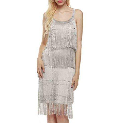 Front Dotted Dress (Toimothcn Women Tassel Bandages Dress Sleeveless Sling Camisole Belt Evening Party Beach Dress (Silver,XL))