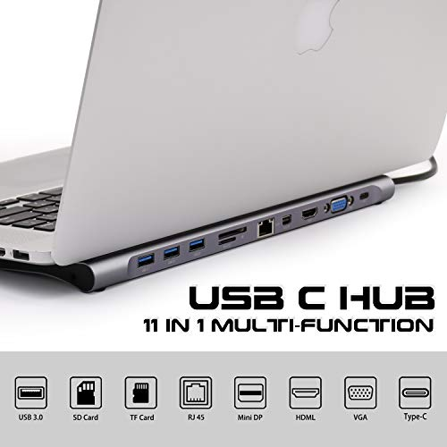 USB C Hub Laptop Docking Station 11 in 1 Multi-Port USB Hubs Triple Display Type C Adapter for iMac Pro,...