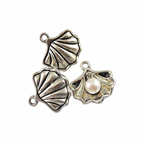 - JulieWang 40pcs Antiqued Pearl in Shell Conch Charms Pendants for Jewerly Making (Antiqued Silver)