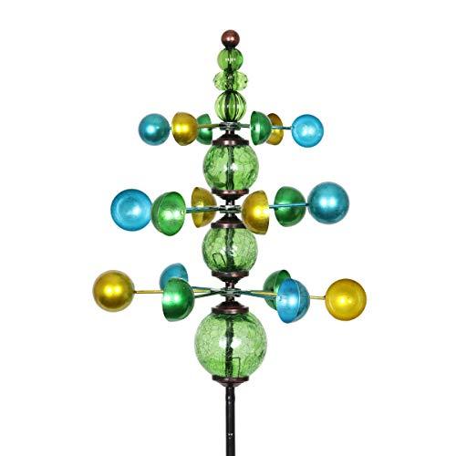 Exhart Colorful Helix Yard Mobile, Three-Tier Vertical Wind Spinners with Green Glass Crackle Balls Garden Stake - Green, Blue & Yellow Garden Spinners - Kinetic Art Decor, 11.5