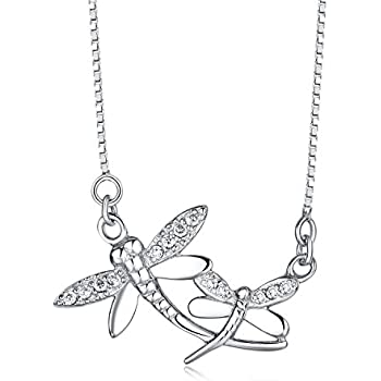 d48b4176c0be6 Amazon.com: Crystalogy Sterling Silver Swarovski Crystal Dragonfly ...