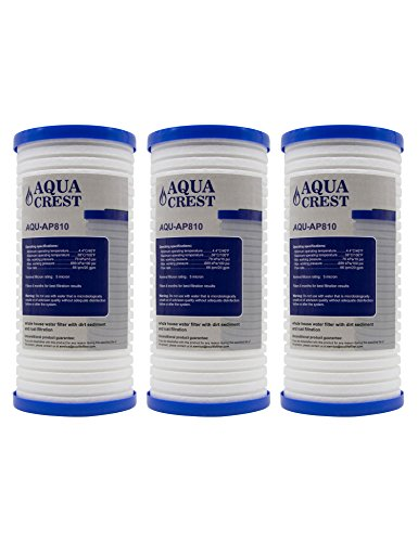 AQUACREST AP810 Replacement for 3M Aqua-Pure AP810, AP801, Whirlpool WHKF-GD25BB, 5 Micron Whole House Water Filter (Package May Vary)(Pack of 3) by AQUACREST
