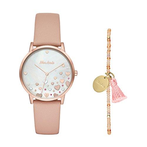Prenatal Set - Mon Amie Women's Leather Watch and Bracelet Set - Supports Prenatal Care, Color Rose Gold-Tone, Pink (Model: CBMA8503)