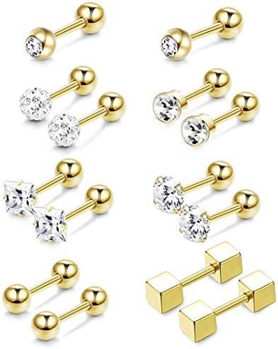 BodyBonita 14Pairs 18G Cartilage Earring Studs Stainless Steel Helix Stud Earrings Hoop Tragus Earrings Flower Heart Star Barbell Piercing Jewelry for Women Men