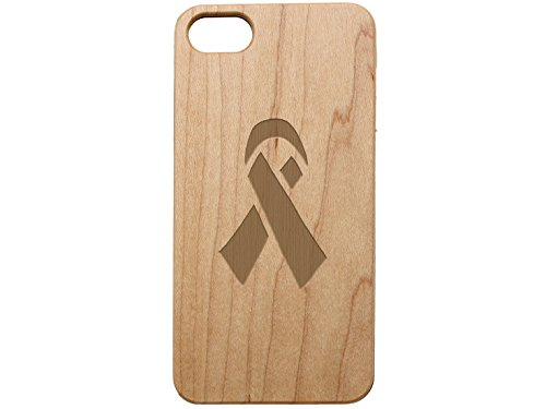 Ribbon Maple - NDZ Performance Custom Wooden Phone Case for Apple iPhone 7 & iPhone 8 Maple Wood Engraved: Awareness Ribbon