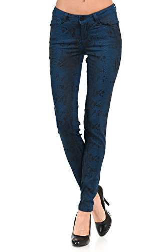 VIRGIN ONLY Women's Printed Skinny Jeans With Stretch Fabric (Teal, Size 7)
