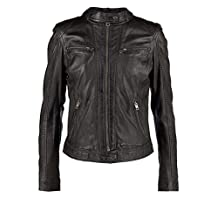 Leather Hubb Women's New Zealand Lambskin Black stylish Round Neck Jacket/ Blazer