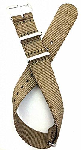18mm NATO style, Nylon Fabric Watch Strap - Khaki