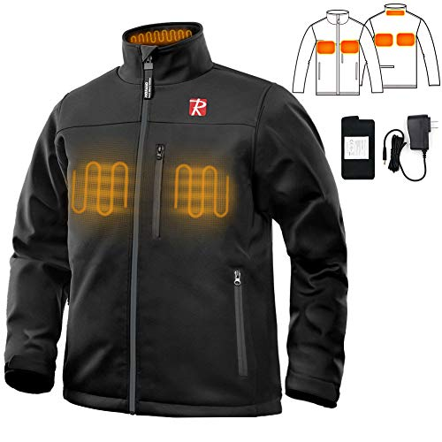 Heated Jacket for Men with 5 Heated Zone and 7.4V Battery Passed UL Certification Comfortable Stylish Warm (Medium)