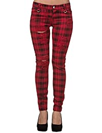 Women's Red Banned Ripped Tartan Plaid Check Emo Punk Skinny Jeans Pants Trousers