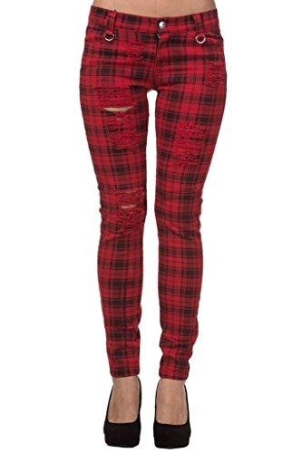 Pantalones Ajustados Rojo Tartán a Cuadros Rasgados Emo Punk de Banned