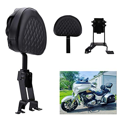 AUFER Detachable Adjustable Plug-in Driver Backrest + Mounting Kit, for Indian Chief Chieftain Roadmaster Springfield 2014-2018