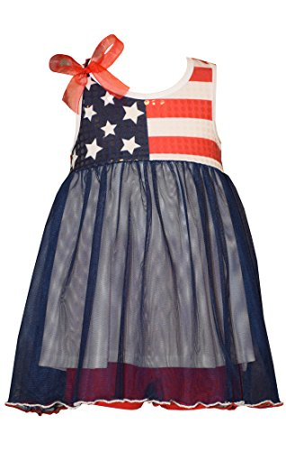 Bonnie Jean Baby Flag Bodice 4th of July Dress 12 months ()