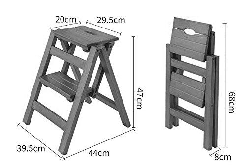 Ladder Chair Folding Wooden 2 Step Stool, 3 Tiers Portable Step Stool Ladder Seat Versatile Home Kitchen Bathroom Office Furniture (Color : White) by Ladder Chair (Image #1)