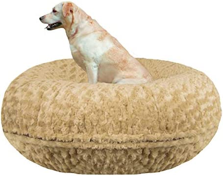 BESSIE AND BARNIE Signature Camel Rose Extra Plush Faux Fur Bagel Pet Dog Bed Multiple Sizes