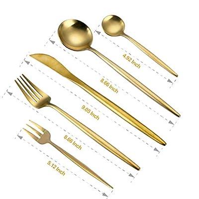 WOAIWO-Q Cutlery Set Stainless Steel,Flatware Set for 4 Person, Kitchen Silverware Cutlery Tableware Dinnerware Anti-rust Rose Gold Utensil Set, Steak Knife Set (Gold)