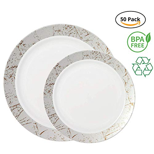 (Party Joy 50-Piece Plastic Dinnerware Set | Marble Collection | (25) Dinner Plates & (25) Salad Plates | Heavy Duty Premium Plastic Plates for Wedding, Parties, Camping & More (Silver))