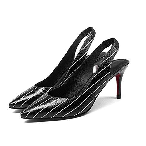de de Tacón de de Cuero AnchengKAO Tamaño Blanco Zapatos 38 Estilete Blanco Aguja Mujer EU Sexy Color Sandalias z0xttw