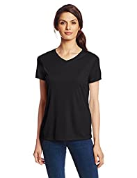 Hanes Sport Women\'s Cool DRI Performance V-Neck Tee,Black,X-Large