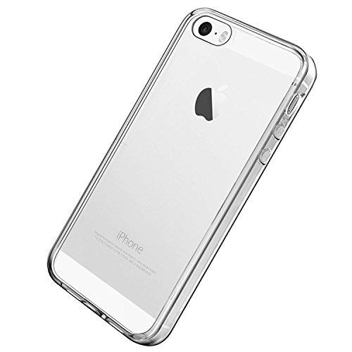 VSHOP ® iPhone 5/5s/SE Coque de Protection, Housse Etui Transparent Antidérapant Protection Dorsale en TPU Gel Avec Absorption de Chocs Pour iPhone 5/5s/SE (TPU Transparent)