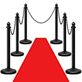 Reliancer 6 Pack Plastic Stanchions Set w/5PCS 40'' Link Chain Sentry Stanchion Kit w/Fillable Base Crowd Control Safety Stanchion Barriers Easy Connect Assembly Outdoor and Indoor Posts Queue Barrier