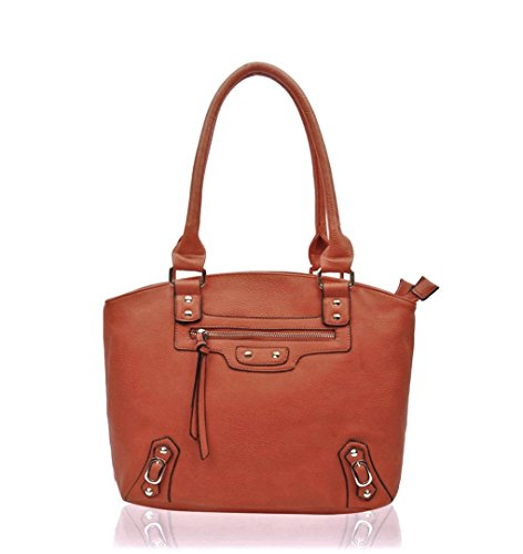 Size Tote School Handbags Faux Medium For Shoulder Grab Work Women Brown Bag Leather Leahward Girls 5q7vwC