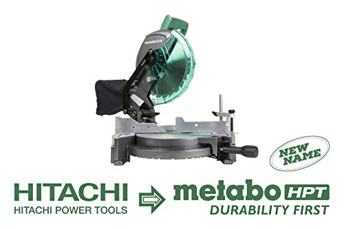 Metabo HPT C10FCG 10-Inch Compound Miter Saw, 15-Amp Motor, Single Bevel, 0-52 Degree Miter Angle Range, 0-45 Degree Bevel Range, Large Table, 10-Inch 24T TCT Saw Blade, 5 Year ()