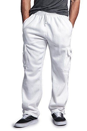 G-Style USA Men's Solid Fleece Cargo Pants DFP2 - WHITE - (Cropped Fleece Pant)