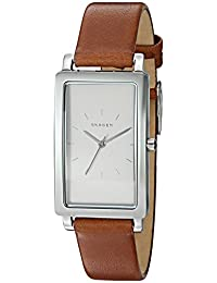 Skagen Women's 'Hagen' Quartz Stainless Steel and Leather Automatic Watch, Color:Brown (Model: SKW2464)