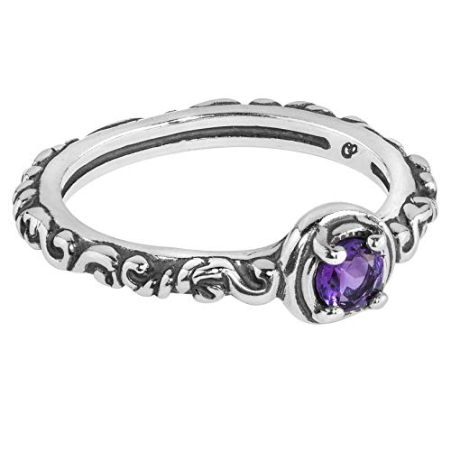 Carolyn Pollack Sterling Silver Purple Amethyst Gemstone Single Round Stone Band Ring Size 9