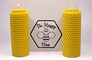 """Be Happy Bee - HANDMADE Pillar Beeswax Candles - 100% NATURAL - Set of 2 - Size 4.4"""" x 1.6"""""""