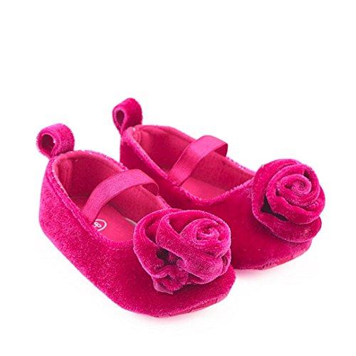 BZLine® Baby Girl Floral Solid Krippe Stiefel Weiche Sohle Prewalker warme Schuhe Hot Pink