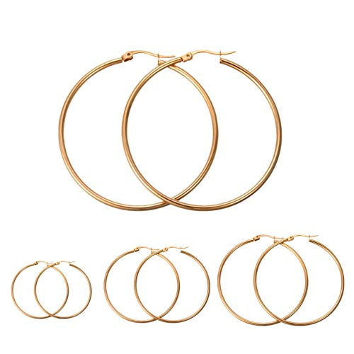 Calors Vitton 4 Pairs a Set Stainless Steel Large Hoop Earrings for Women 30-60mm Gold ()