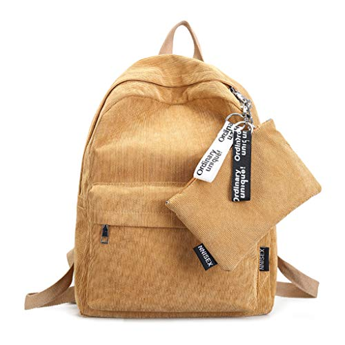 JAGENIE Women Girls Travel Backpack Casual Corduroy Shoulder Bag Teenagers Rucksack New Yellow Yellow