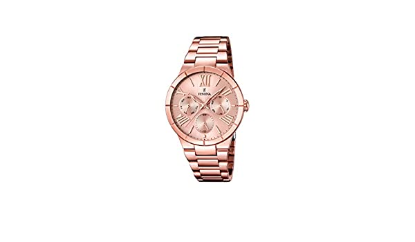 Amazon.com: Festina F16718-2 Ladies Rose Gold Plated Multifunction Watch: Watches