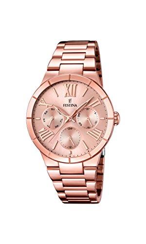 FESTINA-F167182-Reloj-de-cuarzo-para-mujer-con-correa-de-acero-inoxidable-chapado-color-oro-rosa