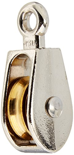 National Hardware N223-404 3203BC Fixed Single Pulley in Nickel, 1'