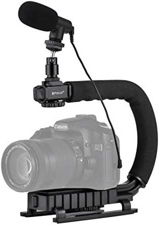 ビデオカメラ&ビーデルアクセサリー U/CシェイプポータブルハンドヘルドDVブラケットスタビライザー コールドシュー三脚ヘッド付