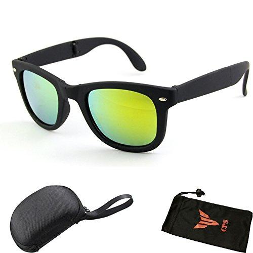 Fordable Folding Pocket Retro Mirror Wayfarer Compact Men Women Sunglasses + Free Sunglasses Case - Case Sunglasses Foldable